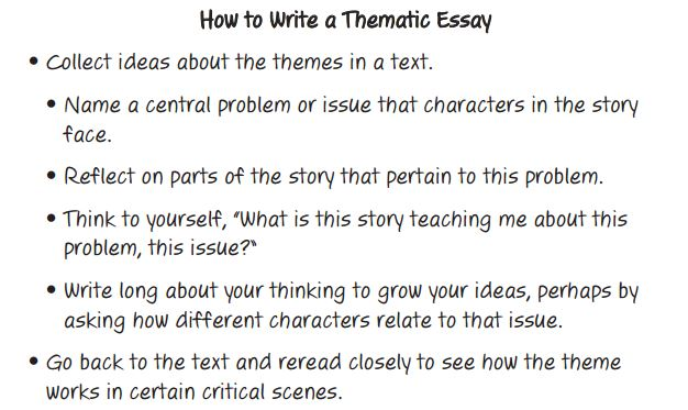 writing thematic essays The experienced editors have commented that simple ignorance of how to write an apa paper often led to a muddled and opaque sense of students' works how to write a thematic essay if you need to write a great thematic essay, you're on the right way.